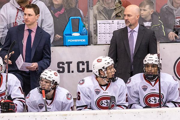 Brett Larson 2019 January 18 St. Cloud State University hosts Western Michigan in a NCHC contest at the Herb Brooks National Hockey Center (Bradley K. Olson)
