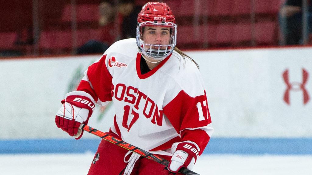 Boston University women's senior blueliner Scarpaci inaugural College Hockey Inc. scholarship for postgraduate education